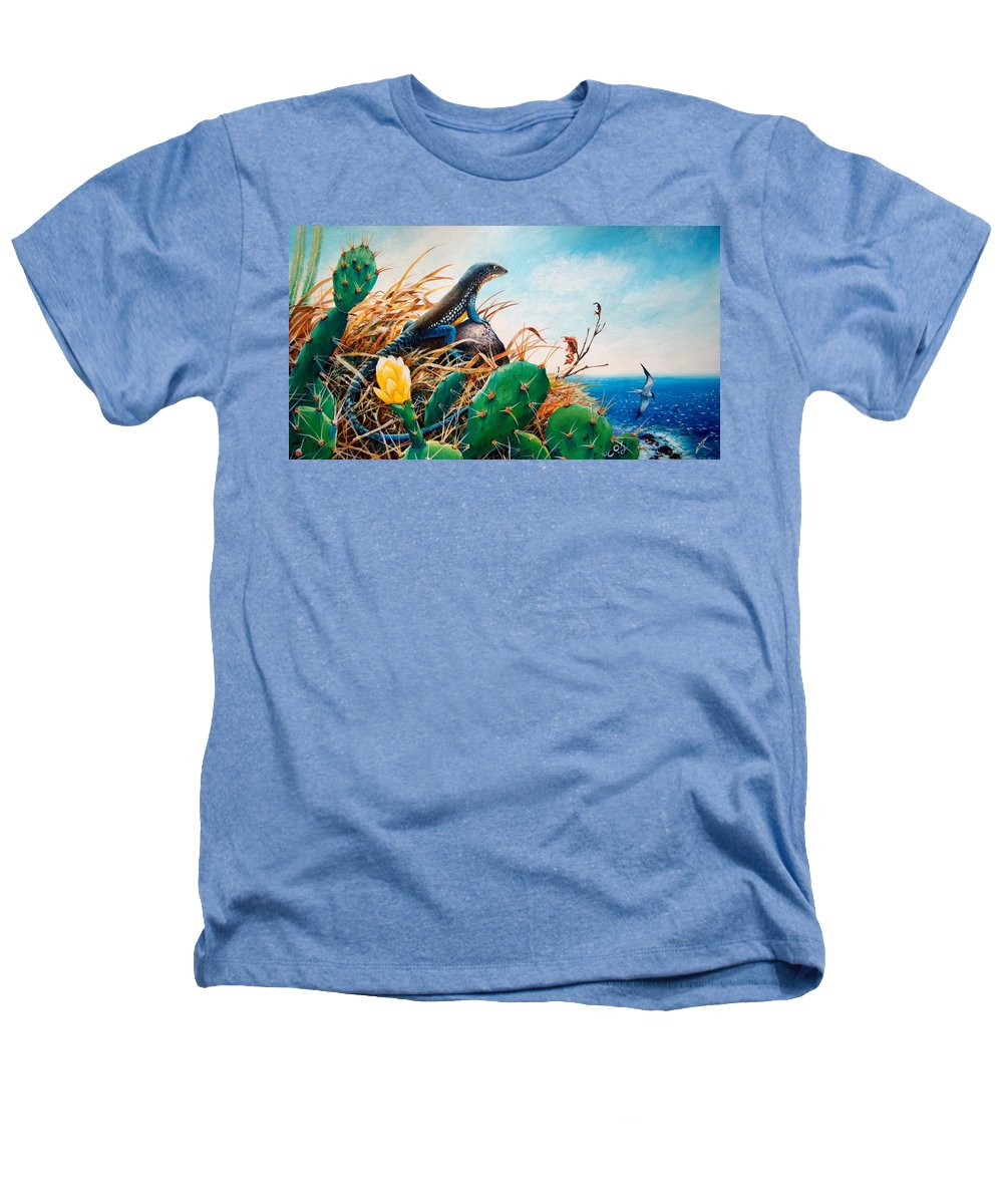 Chris Cox Heathers T-Shirt featuring the painting St. Lucia Whiptail by Christopher Cox