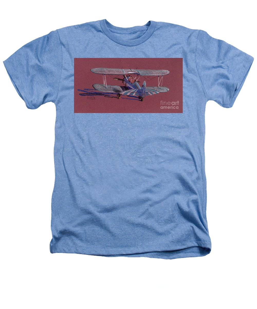 Steerman Biplane Heathers T-Shirt featuring the drawing Steerman Biplane by Donald Maier