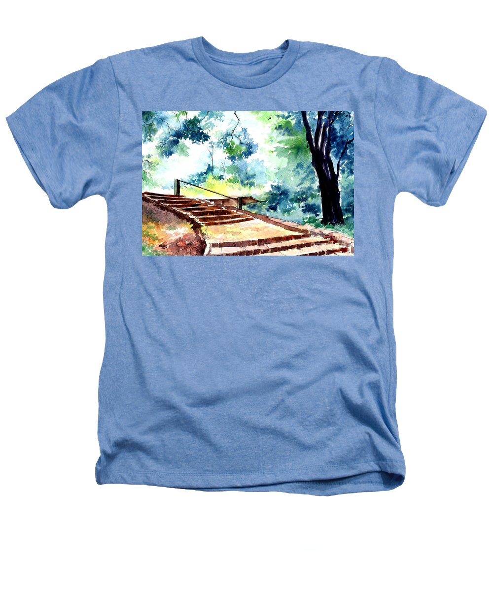 Landscape Heathers T-Shirt featuring the painting Steps To Eternity by Anil Nene