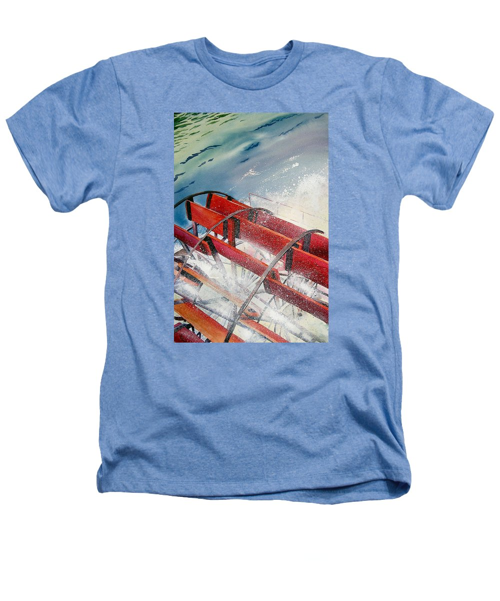 Paddlewheeler Heathers T-Shirt featuring the painting Sternwheeler Splash by Karen Stark