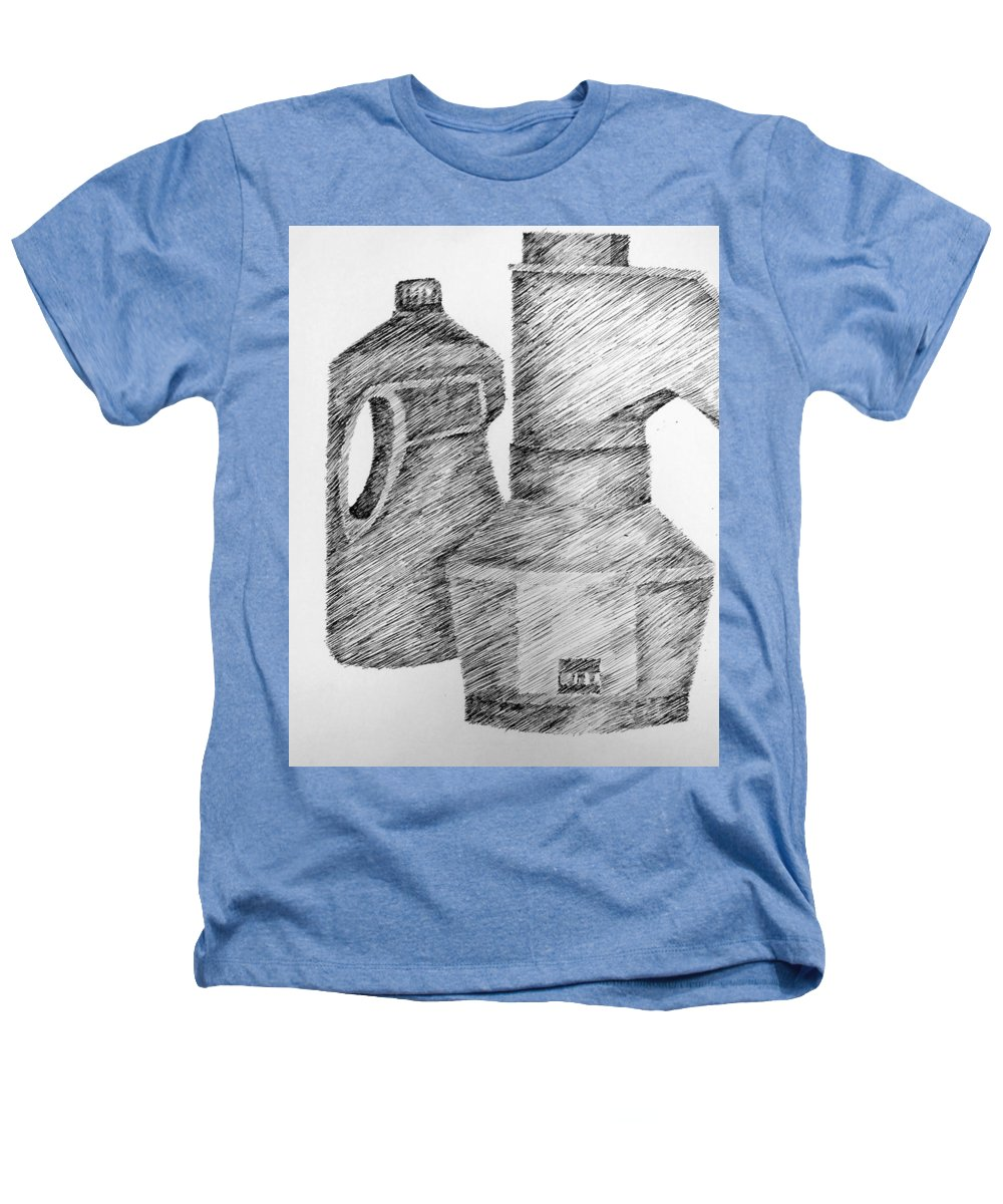 Still Life Heathers T-Shirt featuring the drawing Still Life With Popcorn Maker And Laundry Soap Bottle by Michelle Calkins
