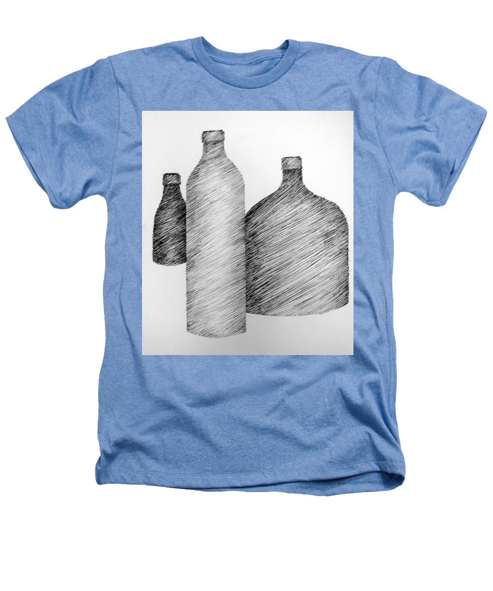 Still Life Heathers T-Shirt featuring the drawing Still Life With Three Bottles by Michelle Calkins