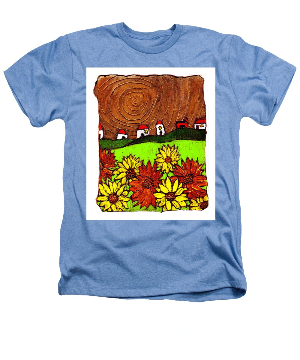 Flowers Heathers T-Shirt featuring the painting Sunflowers And Fields by Wayne Potrafka