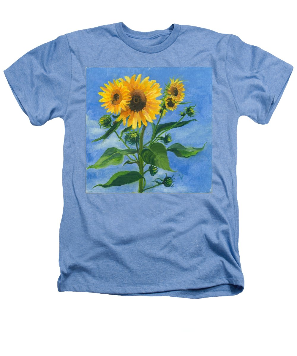 Flowers Heathers T-Shirt featuring the painting Sunflowers On Bauer Farm by Paula Emery