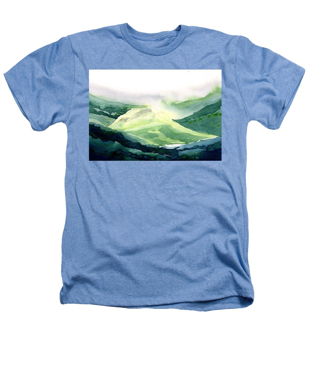 Landscape Heathers T-Shirt featuring the painting Sunlit Mountain by Anil Nene