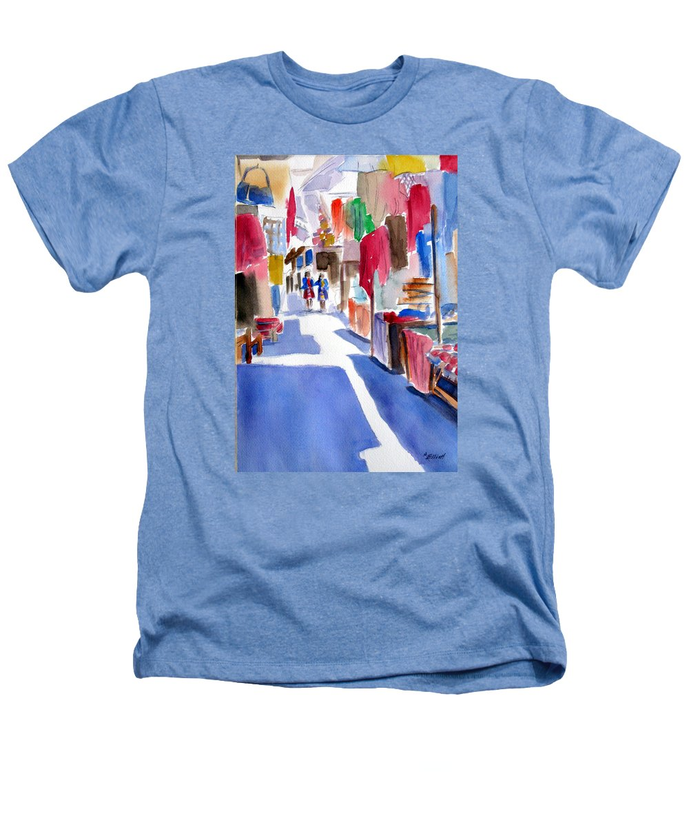 Market Heathers T-Shirt featuring the painting Sunny Day At The Market by Marsha Elliott