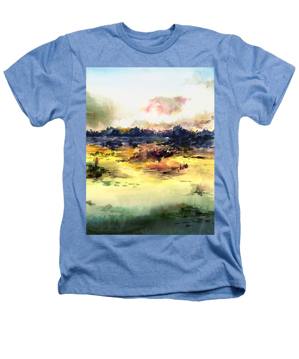 Landscape Water Color Sky Sunrise Water Watercolor Digital Mixed Media Heathers T-Shirt featuring the painting Sunrise by Anil Nene
