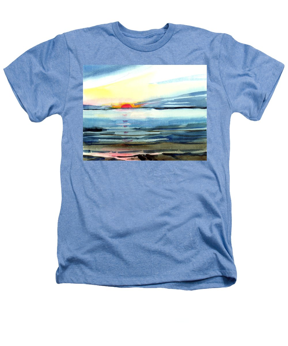 Landscape Seascape Ocean Water Watercolor Sunset Heathers T-Shirt featuring the painting Sunset by Anil Nene
