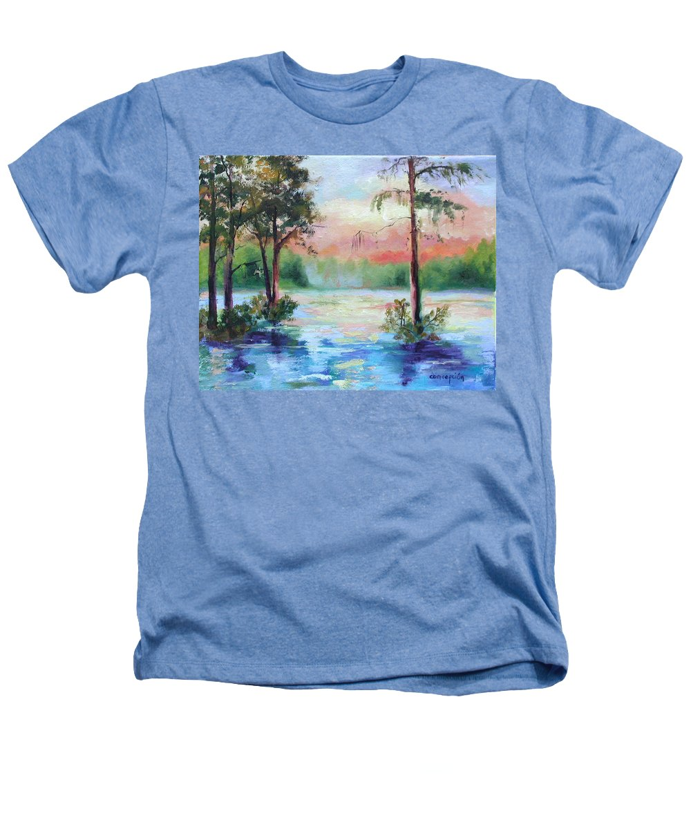 Sunset Heathers T-Shirt featuring the painting Sunset Bayou by Ginger Concepcion