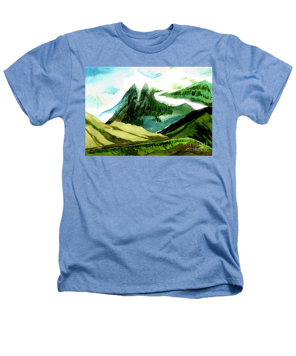 Landscape Heathers T-Shirt featuring the painting Switzerland by Anil Nene
