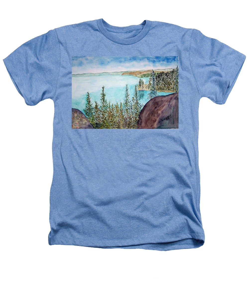 Tahoe Heathers T-Shirt featuring the painting Tahoe Remembered by Larry Wright