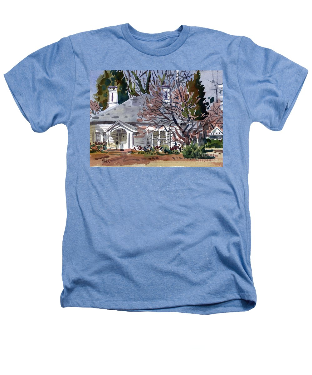Tapp House Heathers T-Shirt featuring the painting Tapp House by Donald Maier
