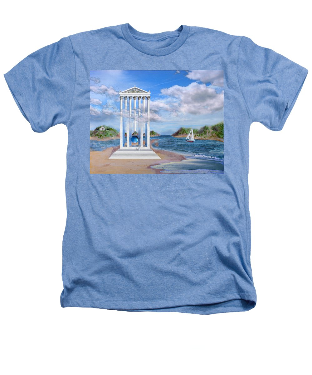 Landscape Heathers T-Shirt featuring the painting Temple For No One by Steve Karol