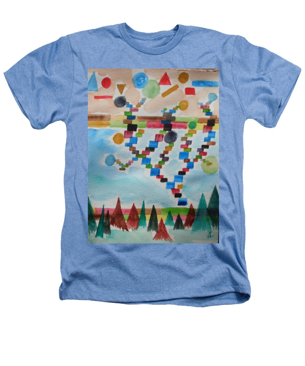Abstract Heathers T-Shirt featuring the painting Tetrus Meets Nature by Warren Thompson