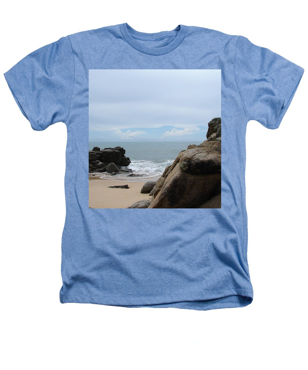 Sand Ocean Clouds Blue Sky Rocks Heathers T-Shirt featuring the photograph The Beach 2 by Luciana Seymour