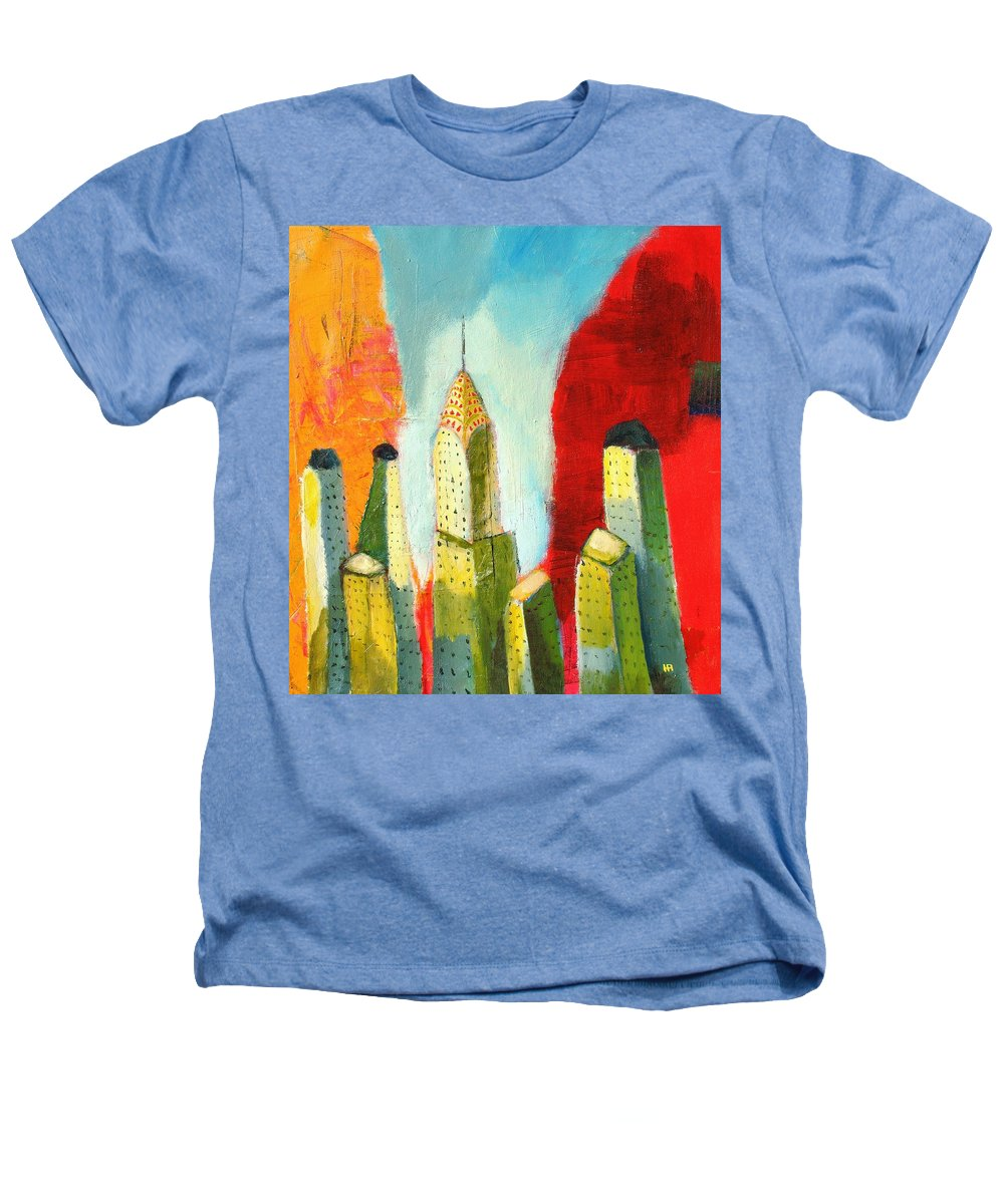 Abstract Cityscape Heathers T-Shirt featuring the painting The Chrysler In Colors by Habib Ayat
