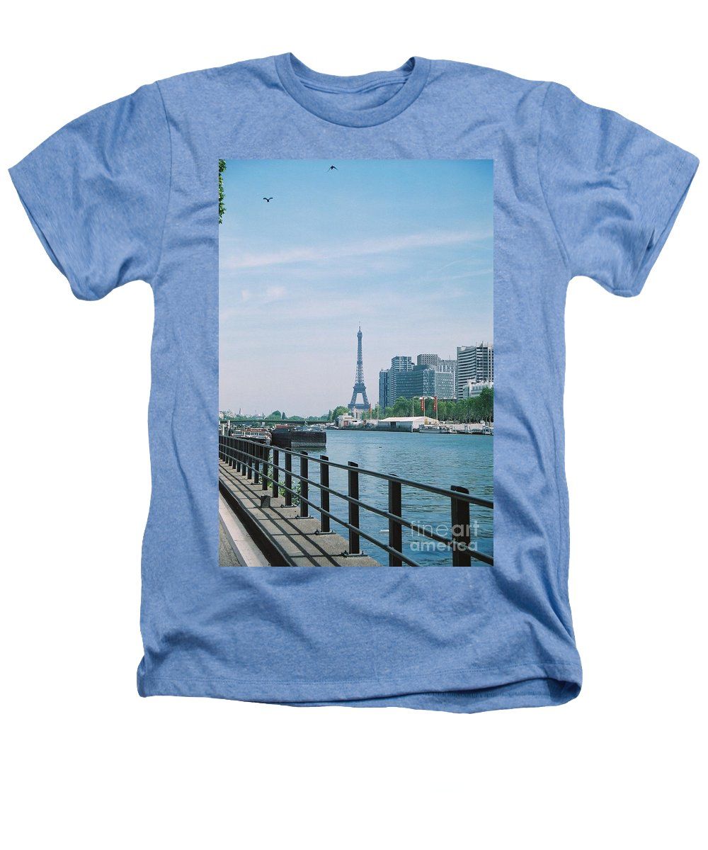 The Eiffel Tower Heathers T-Shirt featuring the photograph The Eiffel Tower And The Seine River by Nadine Rippelmeyer