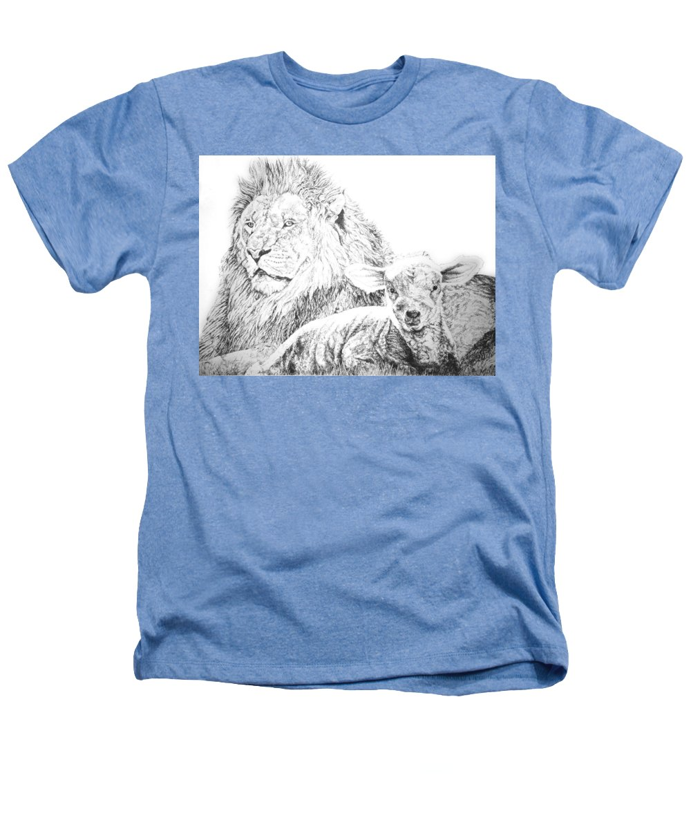 Lion Heathers T-Shirt featuring the drawing The Lion And The Lamb by Bryan Bustard