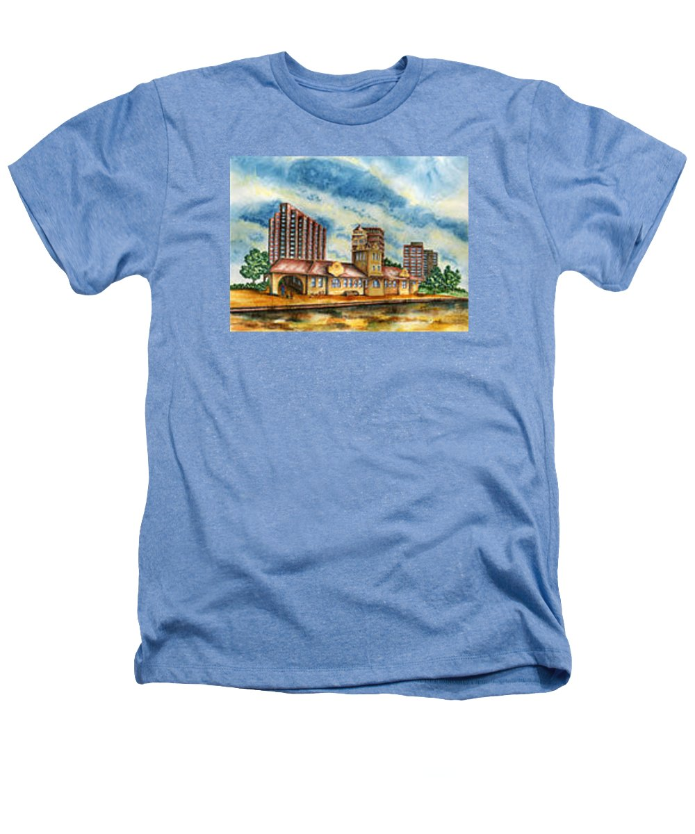 Cityscape Heathers T-Shirt featuring the painting The Old Train Station  by Ragon Steele