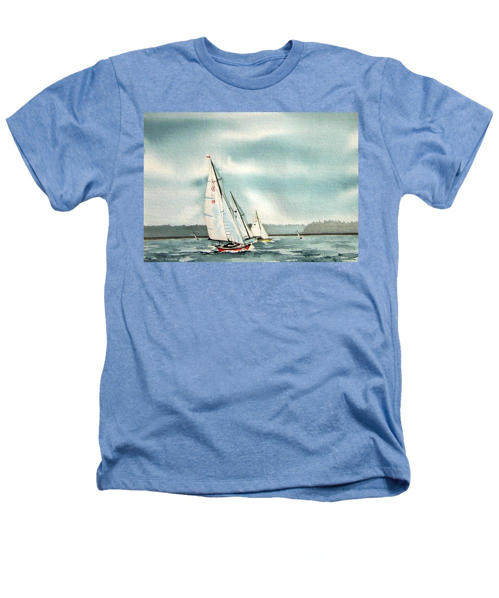Sailing Heathers T-Shirt featuring the painting The Race by Gale Cochran-Smith
