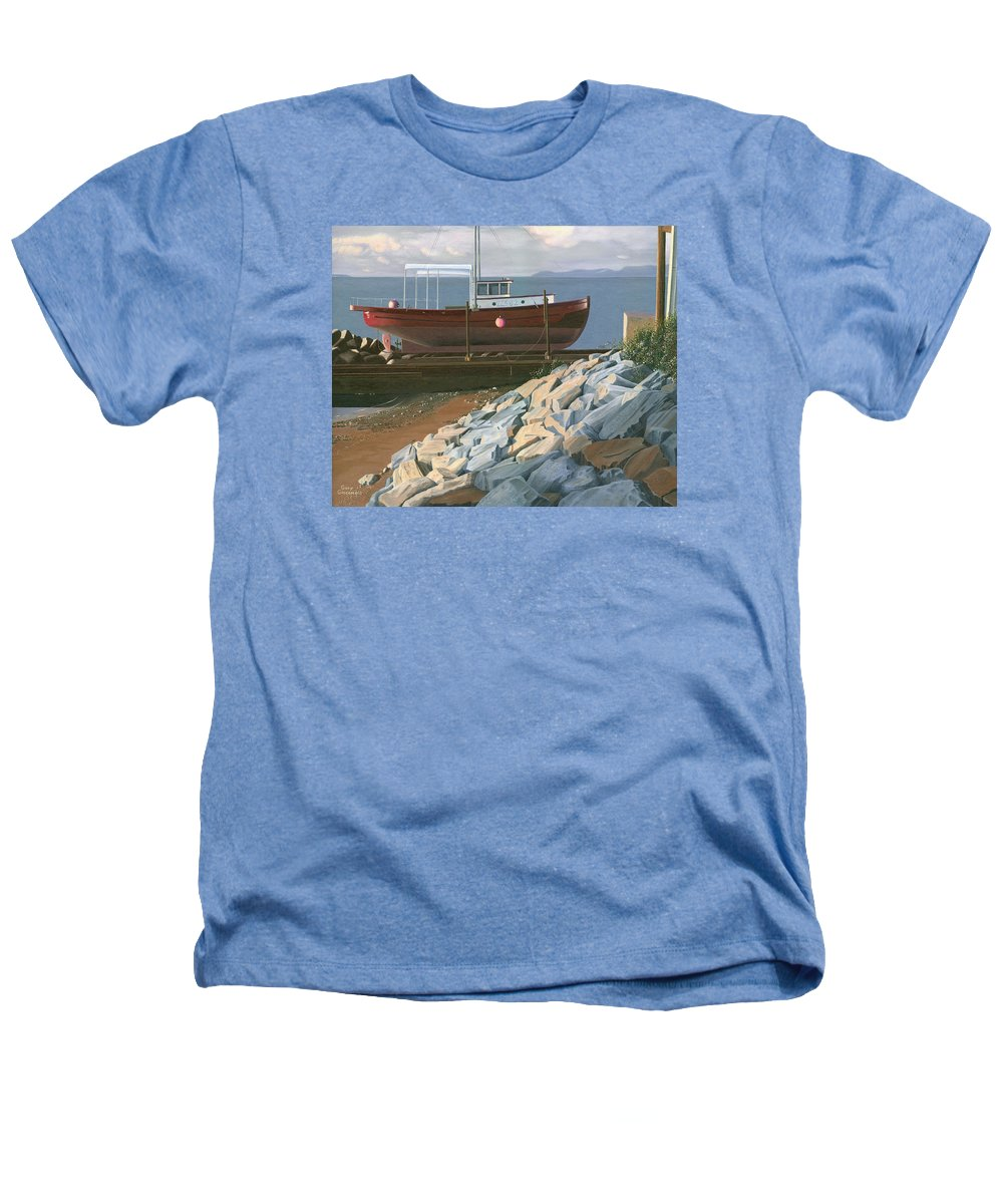 Ship Heathers T-Shirt featuring the painting The Red Troller Revisited by Gary Giacomelli