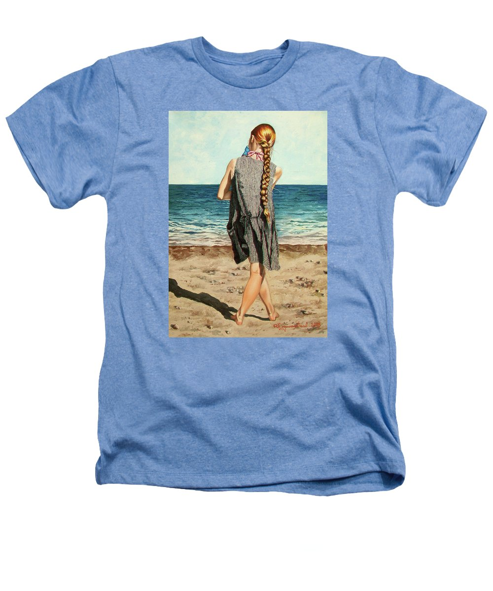 Sea Heathers T-Shirt featuring the painting The Secret Beauty - La Belleza Secreta by Rezzan Erguvan-Onal
