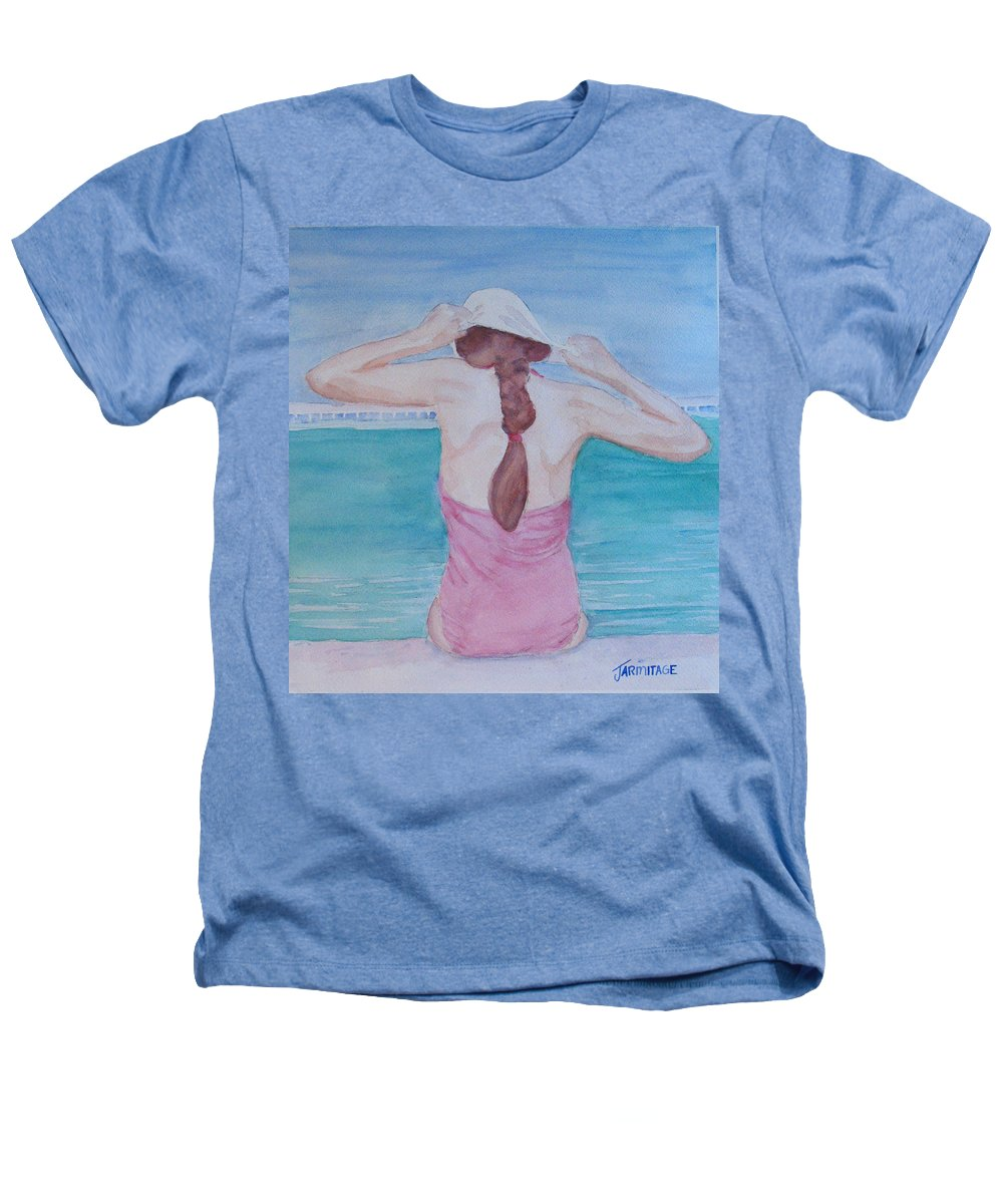 Girl Heathers T-Shirt featuring the painting The Swim Cap by Jenny Armitage