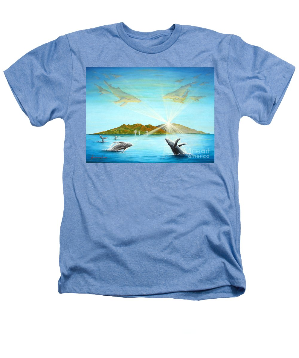 Whales Heathers T-Shirt featuring the painting The Whales Of Maui by Jerome Stumphauzer