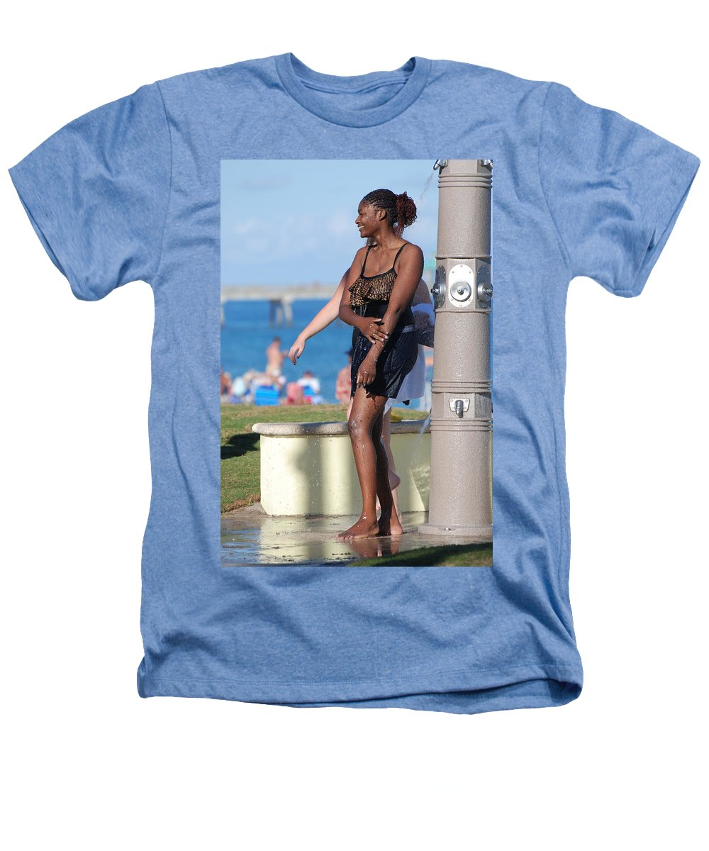 Bathing Suit Heathers T-Shirt featuring the photograph Three Arms At The Shower by Rob Hans