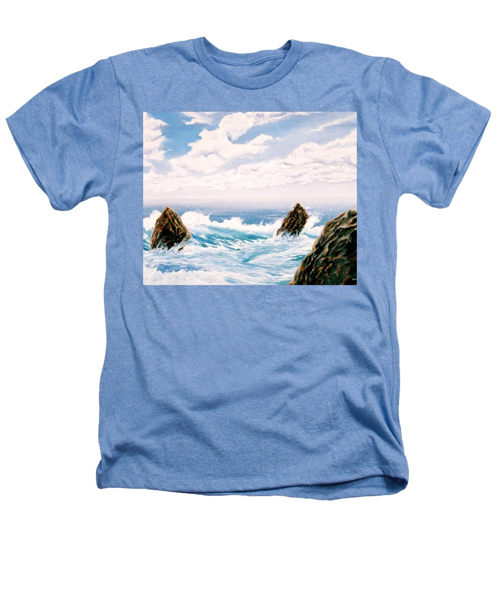 Seascape Heathers T-Shirt featuring the painting Three Rocks by Mark Cawood