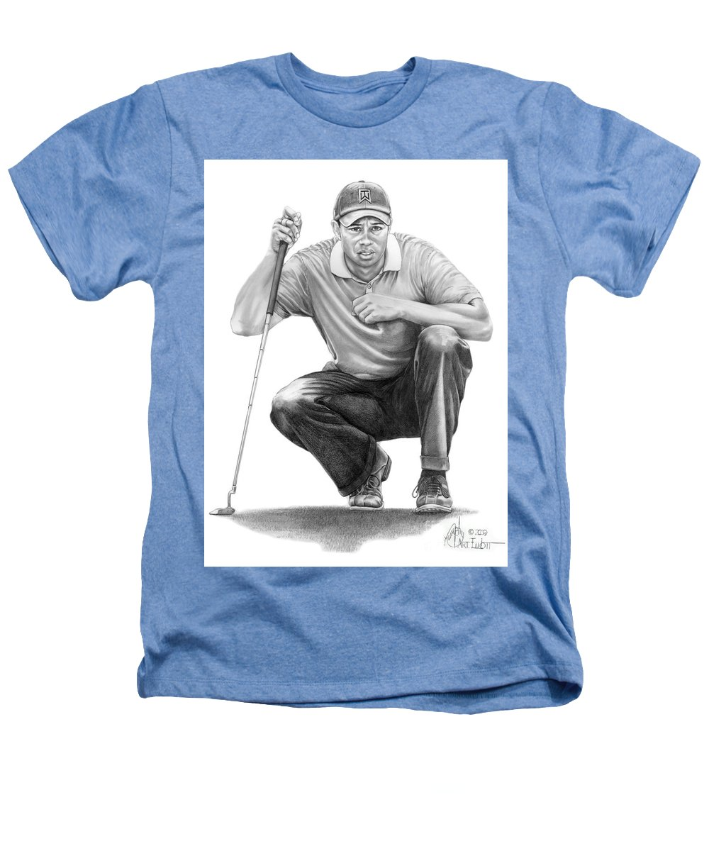 Pencil Heathers T-Shirt featuring the drawing Tiger Woods Crouching Tiger by Murphy Elliott