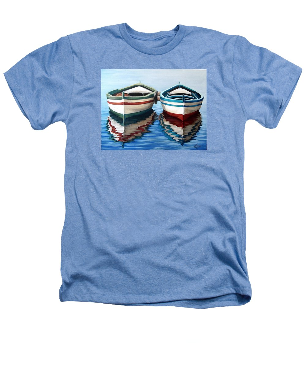 Seascape Sea Boat Reflection Water Ocean Heathers T-Shirt featuring the painting Together by Natalia Tejera