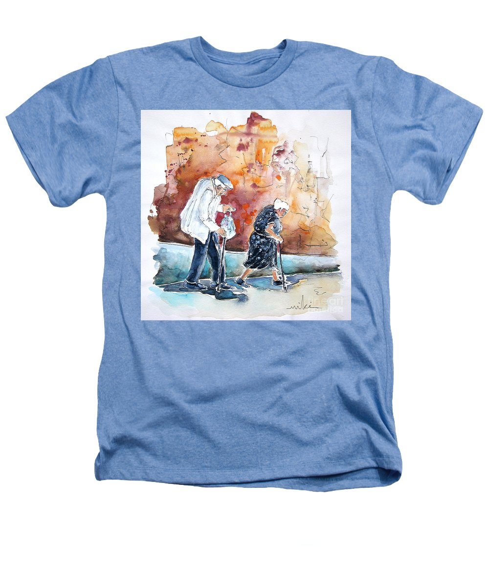 Portugal Paintings Heathers T-Shirt featuring the painting Together Old In Portugal 01 by Miki De Goodaboom