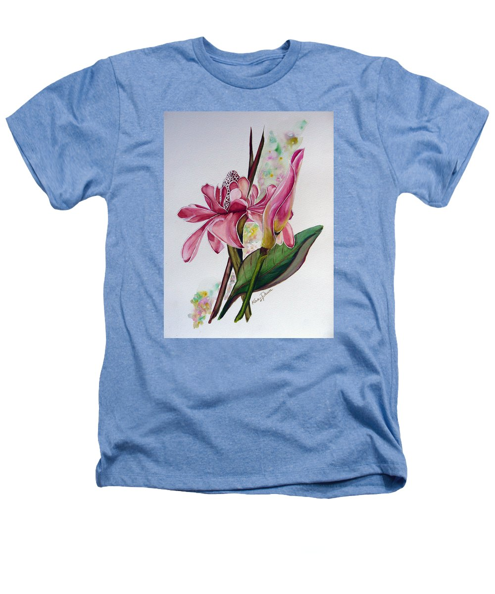 Flower Painting Floral Painting Botanical Painting Flowering Ginger. Heathers T-Shirt featuring the painting Torch Ginger Lily by Karin Dawn Kelshall- Best
