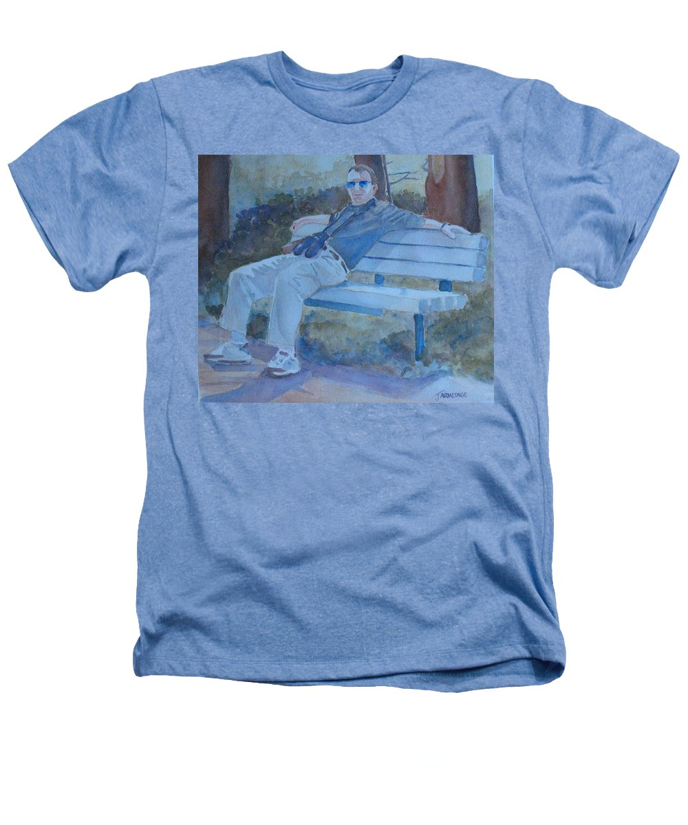 Tourists Heathers T-Shirt featuring the painting Tourist At Rest by Jenny Armitage