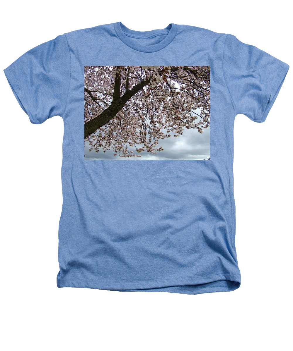 �blossoms Artwork� Heathers T-Shirt featuring the photograph Tree Blossoms Landscape 11 Spring Blossoms Art Prints Giclee Sky Storm Clouds by Baslee Troutman