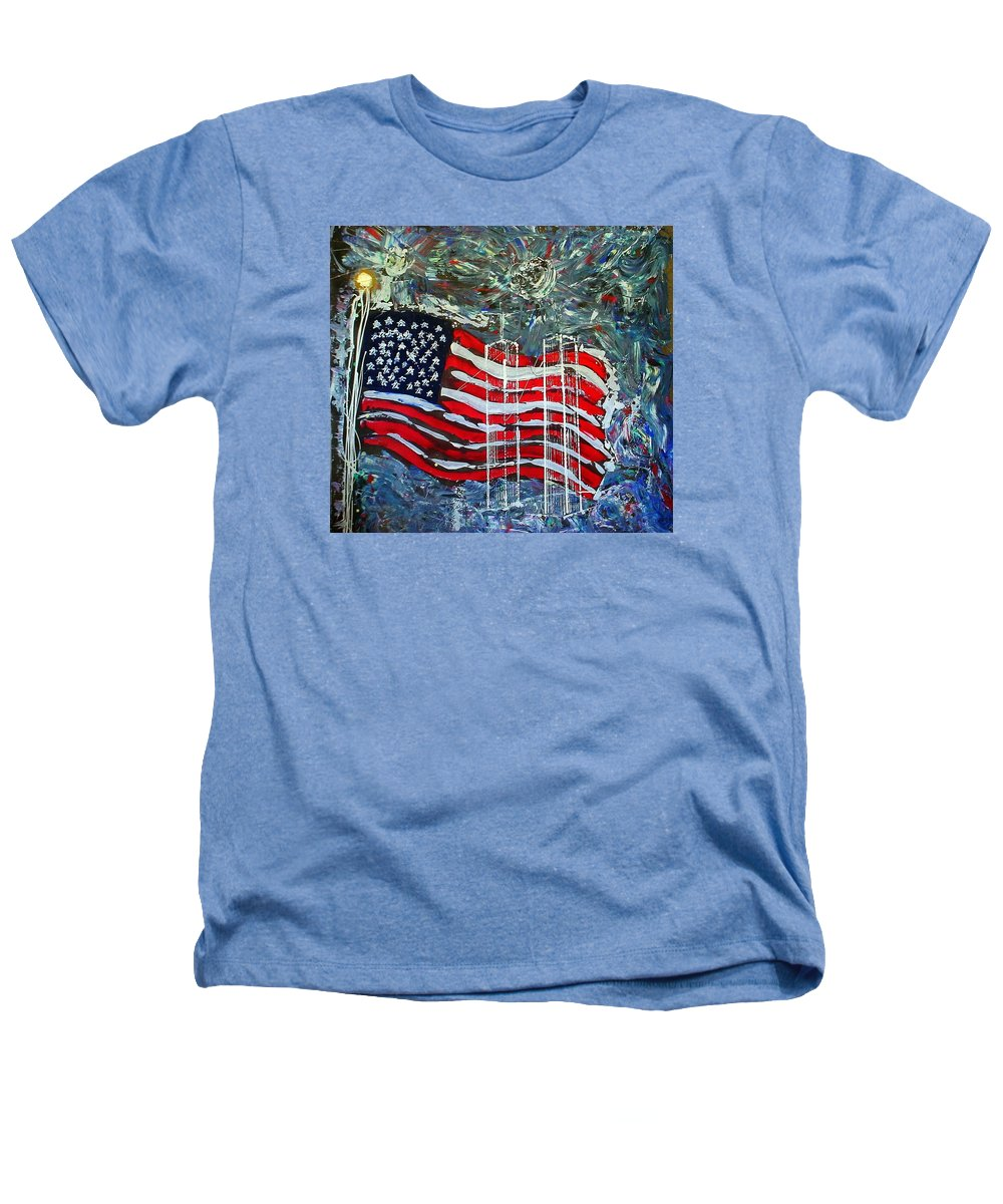 American Flag Heathers T-Shirt featuring the mixed media Tribute by J R Seymour