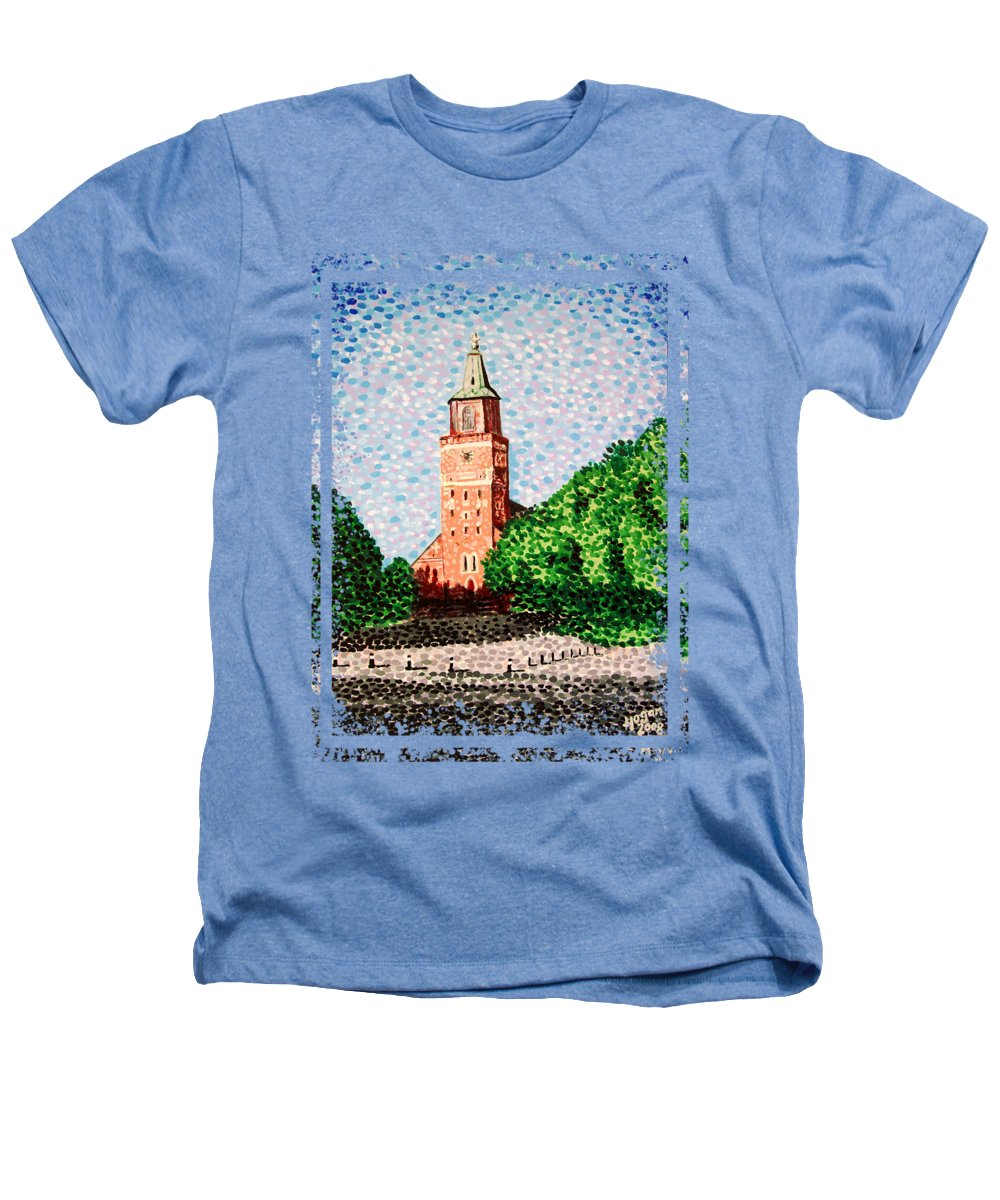 Finnish Heathers T-Shirt featuring the painting Turku Cathedral by Alan Hogan