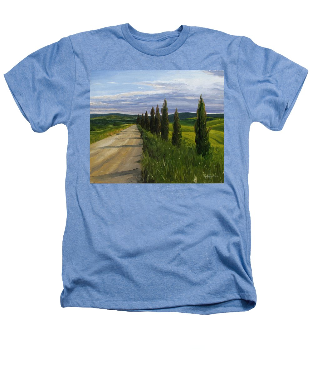 Heathers T-Shirt featuring the painting Tuscany Road by Jay Johnson