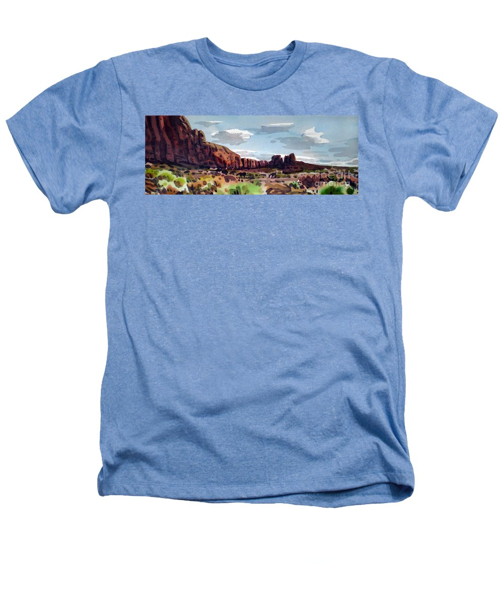 Horses Heathers T-Shirt featuring the painting Two Mustangs by Donald Maier