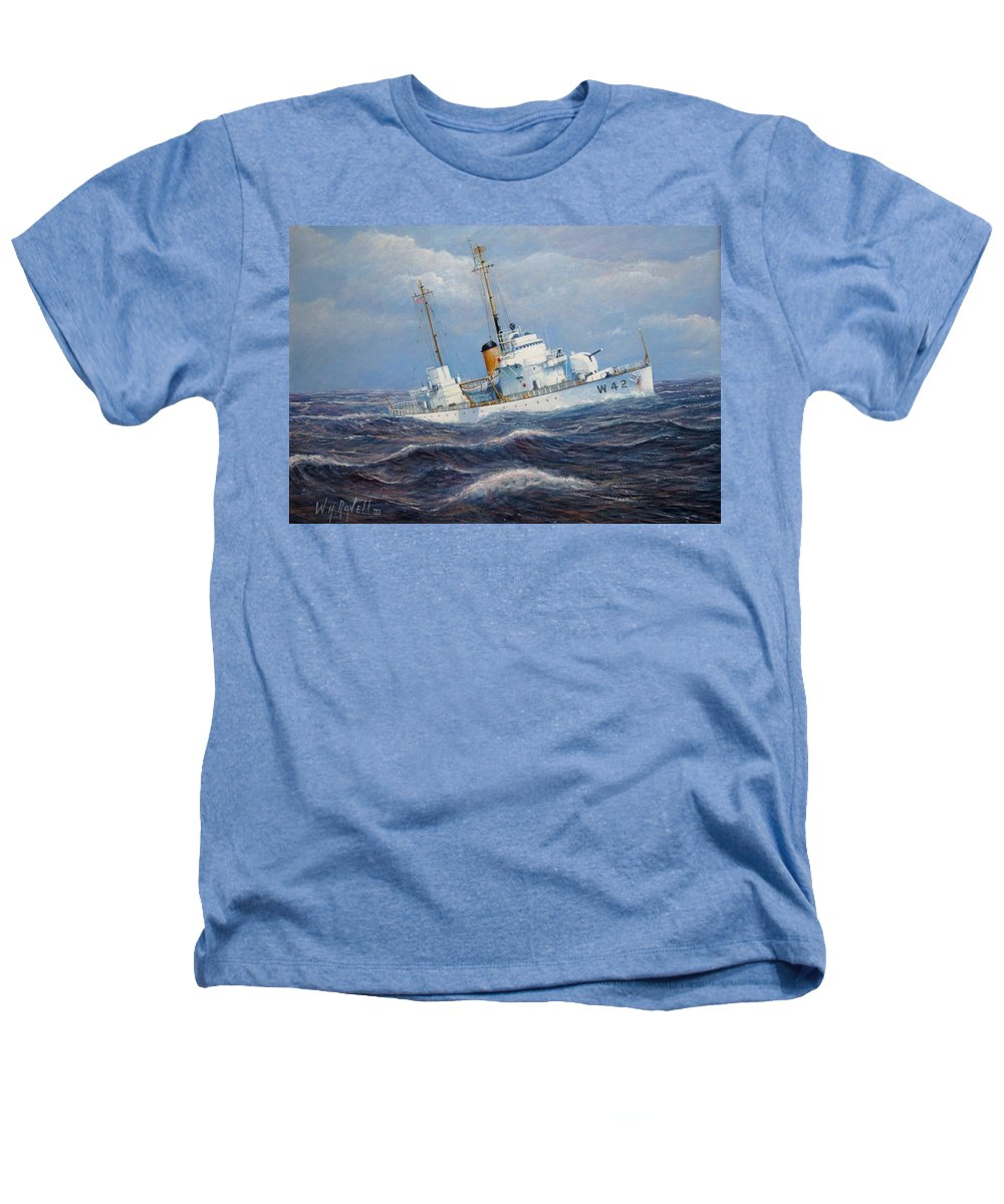 Marine Art Heathers T-Shirt featuring the painting U. S. Coast Guard Cutter Sebago Takes A Roll by William H RaVell III