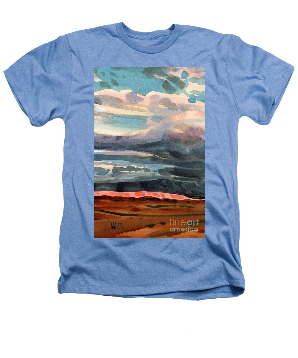 Western Landscape Heathers T-Shirt featuring the painting Utah Skyline by Donald Maier