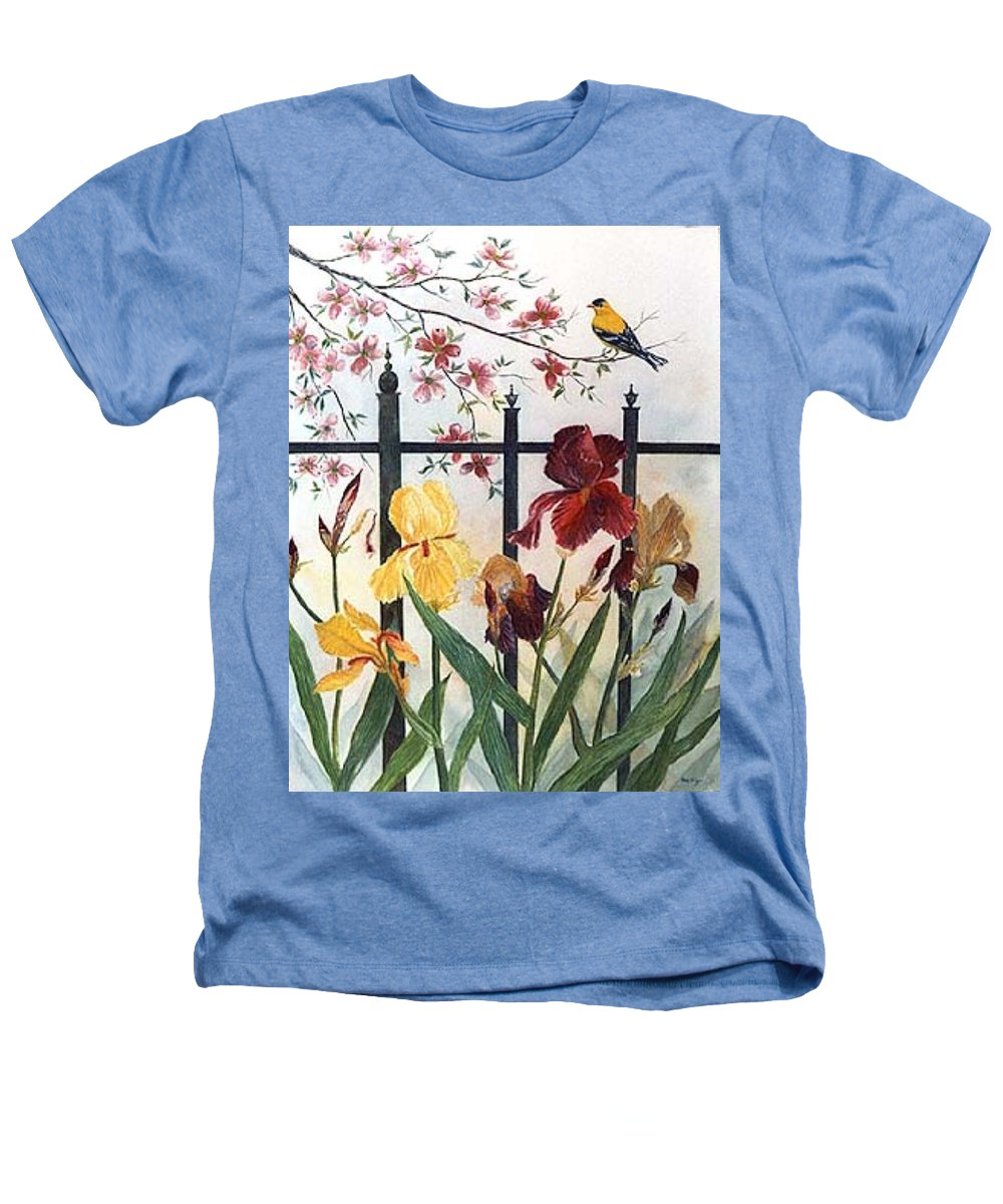 Irises; American Goldfinch; Dogwood Tree Heathers T-Shirt featuring the painting Victorian Garden by Ben Kiger