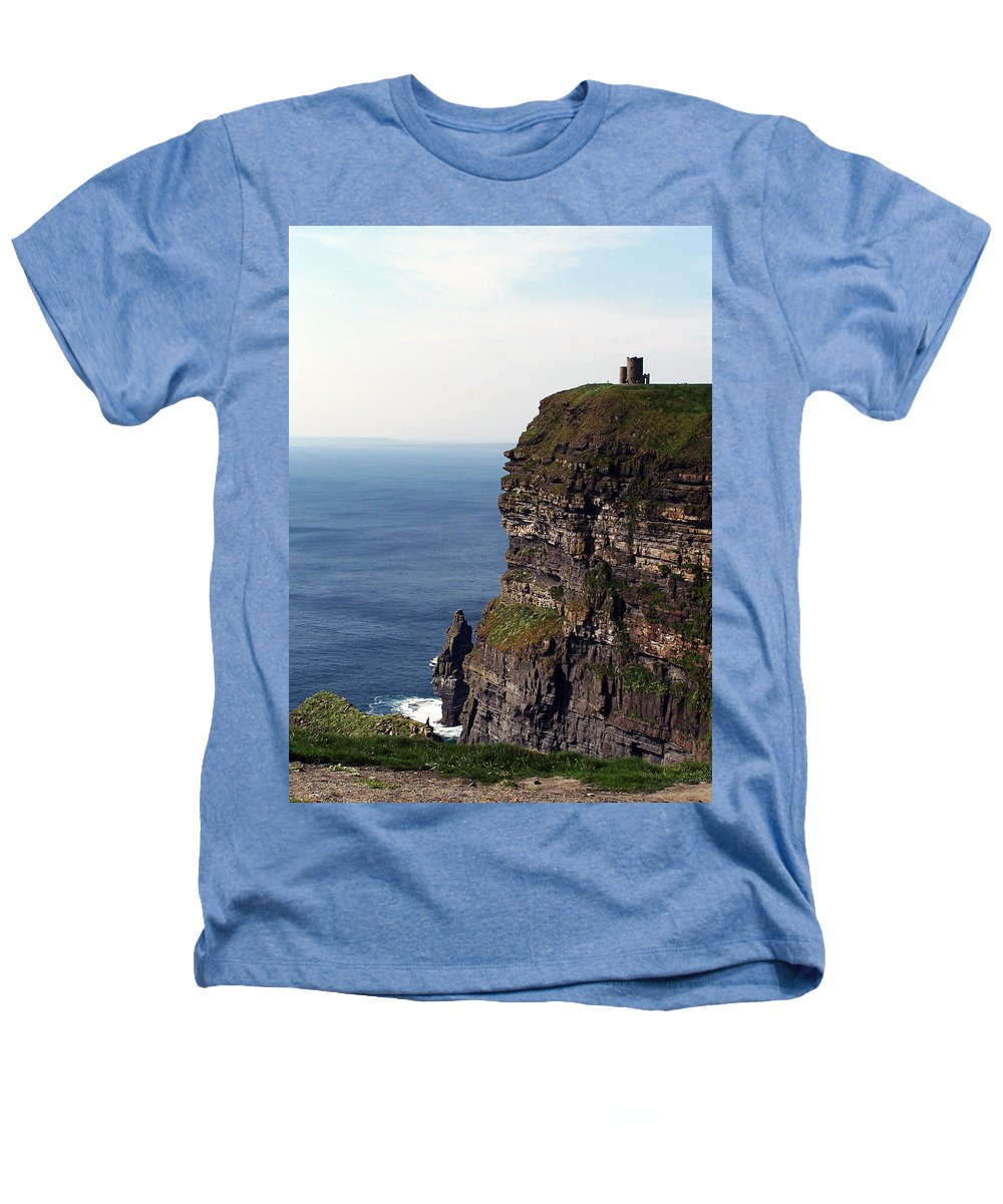 Irish Heathers T-Shirt featuring the photograph View Of Aran Islands And Cliffs Of Moher County Clare Ireland by Teresa Mucha