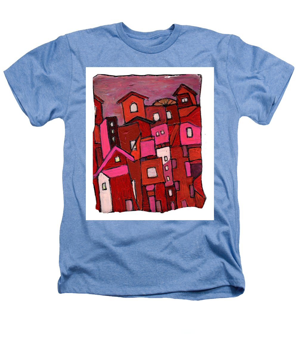 Village Heathers T-Shirt featuring the painting Village In Pink by Wayne Potrafka