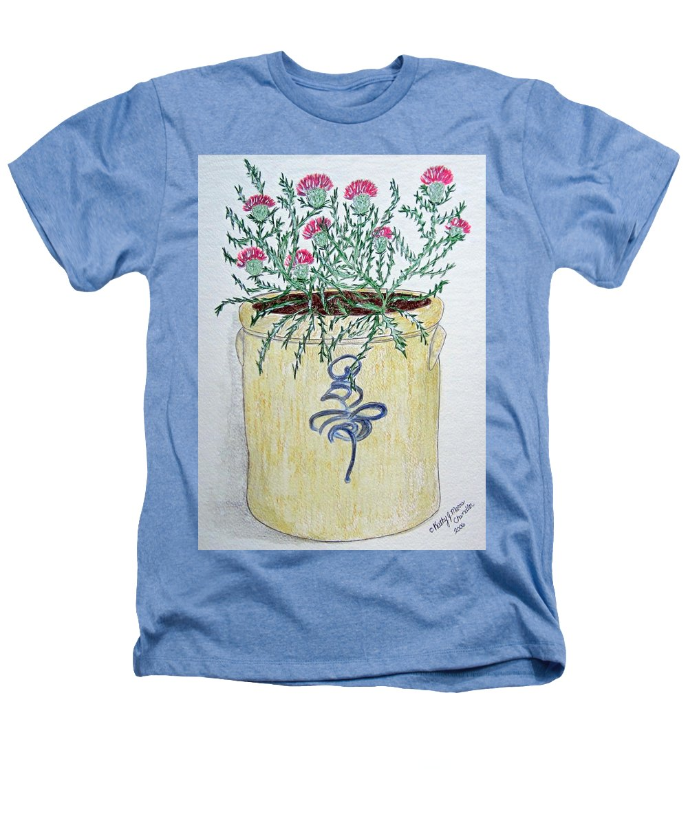 Vintage Heathers T-Shirt featuring the painting Vintage Bee Sting Crock And Thistles by Kathy Marrs Chandler