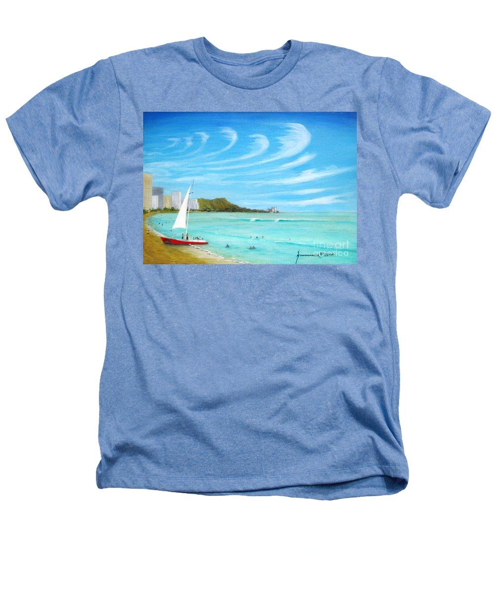 Waikiki Heathers T-Shirt featuring the painting Waikiki by Jerome Stumphauzer