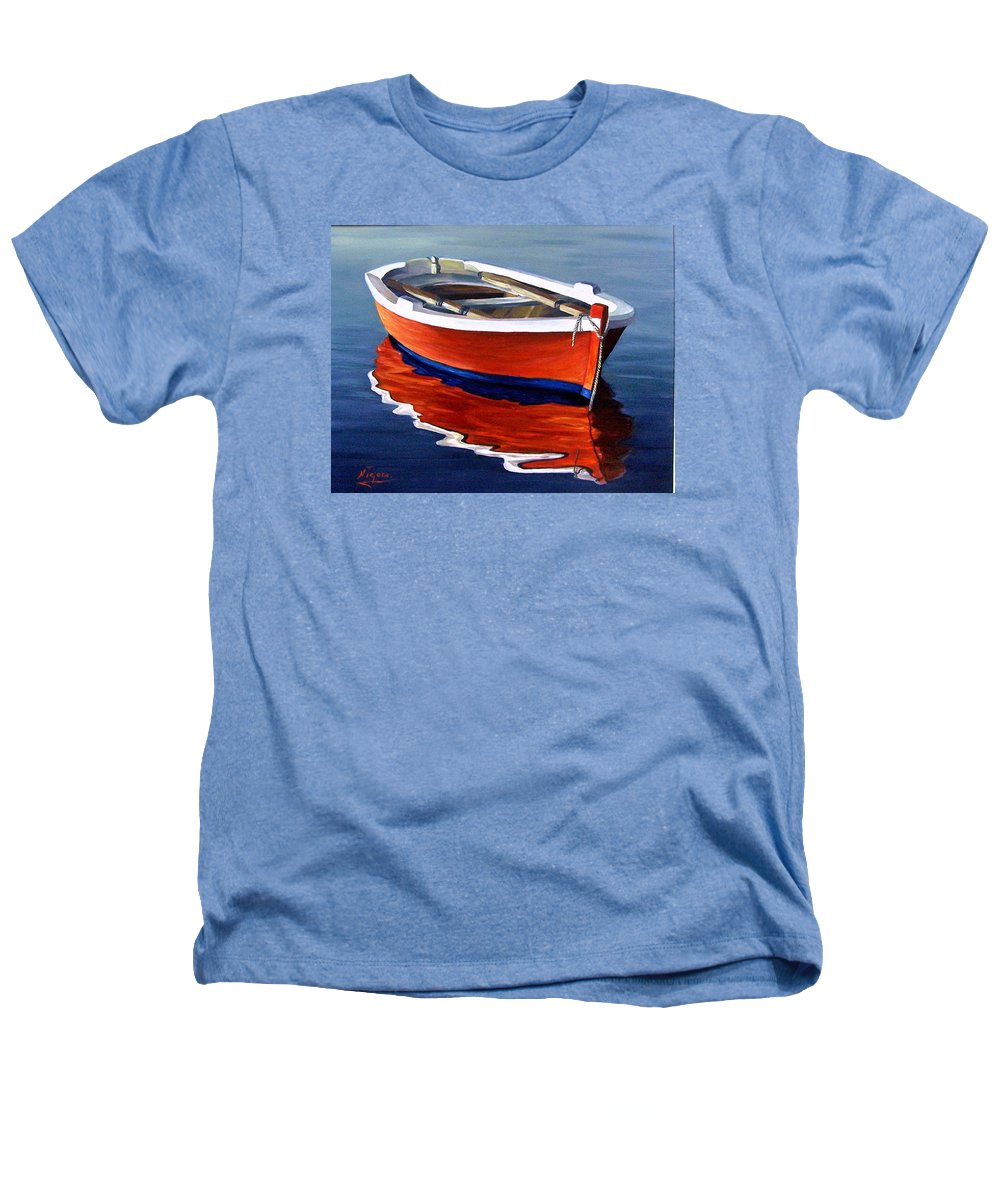 Seascape Water Boat Reflection Ocean Sea Heathers T-Shirt featuring the painting Waiting by Natalia Tejera