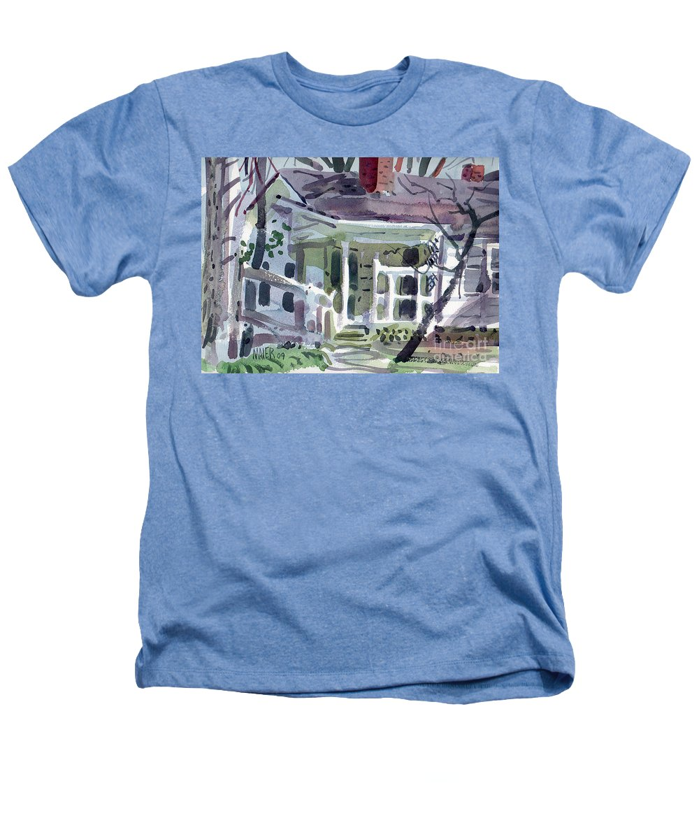 Wallis House Heathers T-Shirt featuring the painting Wallis House by Donald Maier