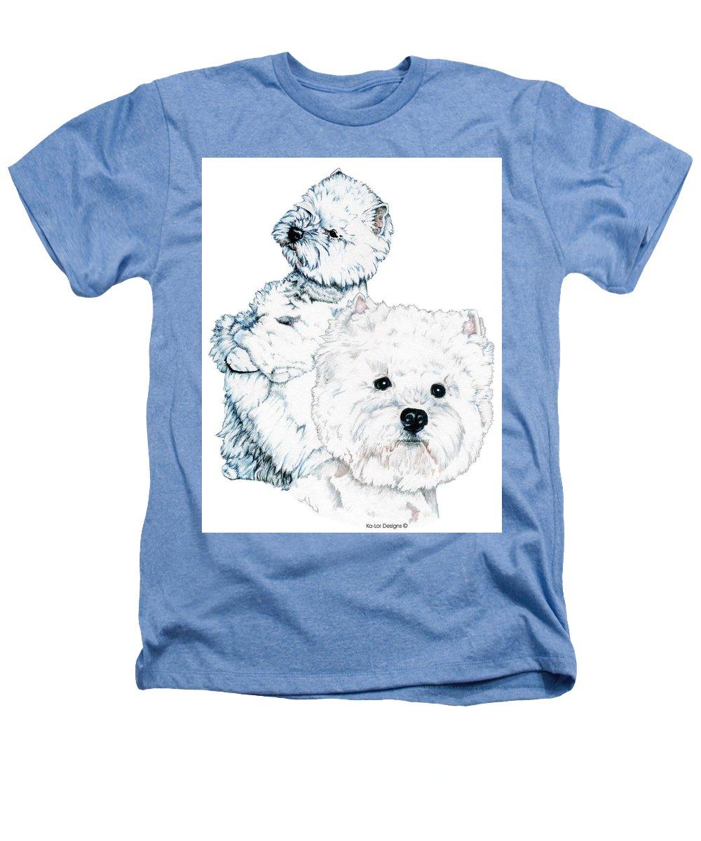 West Highland White Terrier Heathers T-Shirt featuring the drawing West Highland White Terriers by Kathleen Sepulveda
